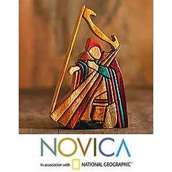 Cedar/ Mahogany 'Andean Harpist' Sculpture (Peru)