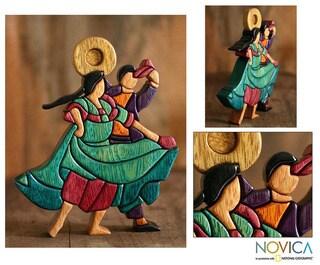 Cedar/ Mahogany 'Dance and Flirt' Sculpture (Peru)