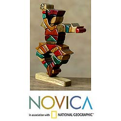 Handmade Cedar/ Mahogany 'Scissors Dancer' Sculpture (Peru)