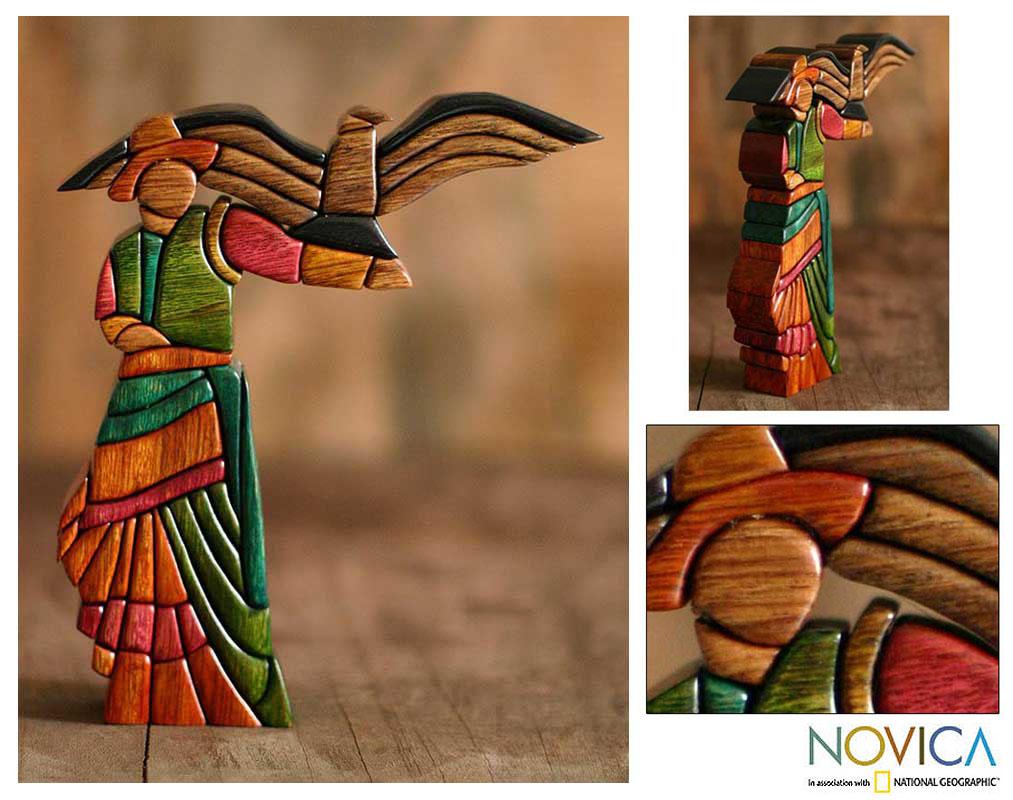 Cedar/ Mahogany 'The Woman and the Condor' Sculpture (Peru)