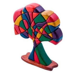 Handmade Cedar/ Mahogany Tree of Life Multi Color Wood Sculpture (Peru)