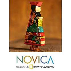 Cedar/ Mahogany 'Wool Spinner' Sculpture (Peru)