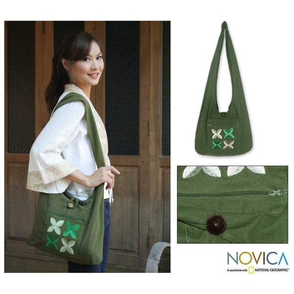 Cotton 'Emerald Frangipani' Shoulder Bag (Thailand)