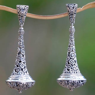 Handmade Sterling Silver 'Temple Bells' Earrings (Indonesia)