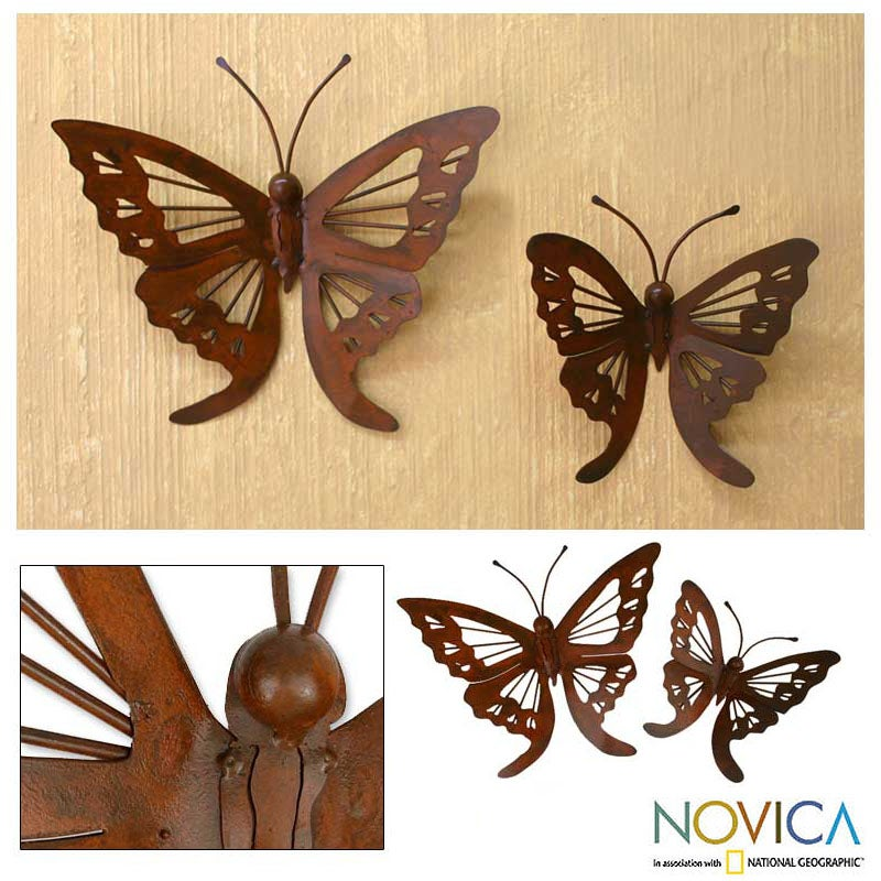 'Butterfly' Iron Wall Adornments Pair (Mexico)