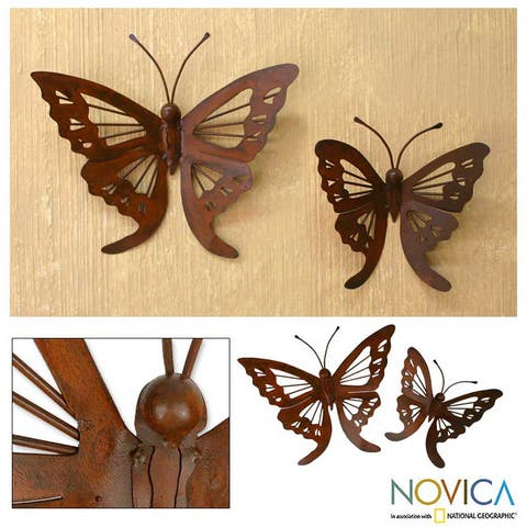 Butterfly Iron Wall Adornments Pair