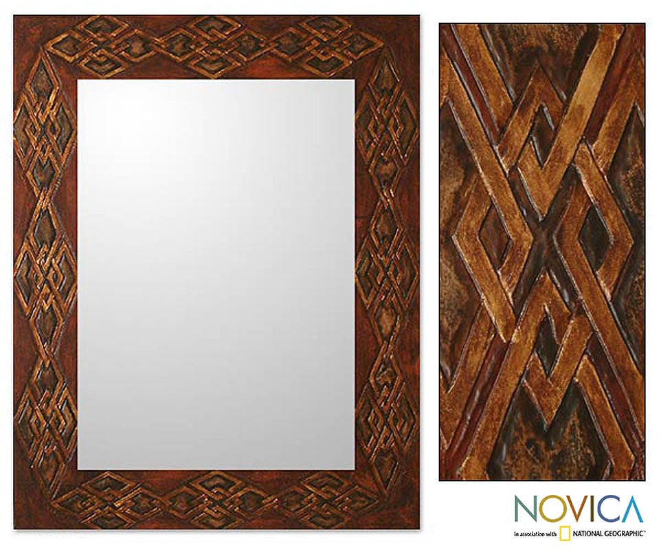 Shop Handmade Gordian Knot Large Leather Wooden Frame Mirror (Peru ...