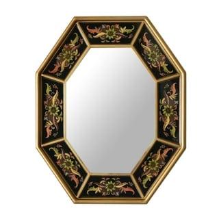 Dawn Garlands Artisan Handmade Decor Reverse Painted Glass Floral Black Gold Hallway Bedroom Bathroom Accent Wall Mirror (Peru)