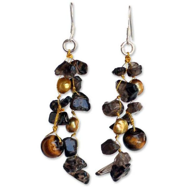 Pearl and Smoky Quartz 'Diva' Drop Earrings. Opens flyout.