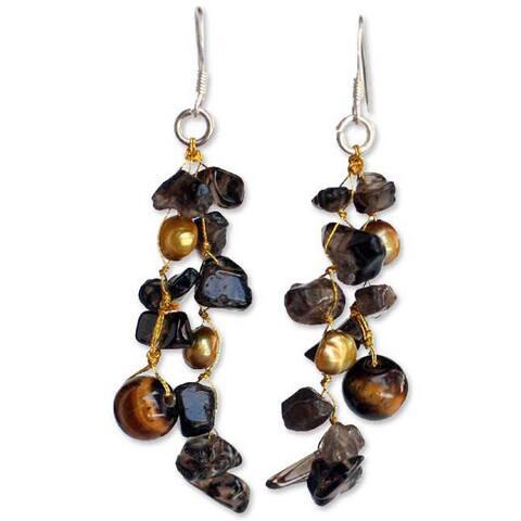 Pearl and Smoky Quartz 'Diva' Drop Earrings