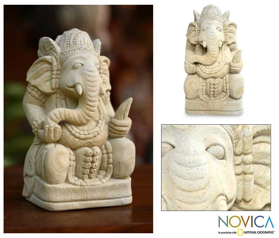Sandstone 'Magnificent Ganesha II' Statuette, Handmade in Indonesia - Thumbnail 0
