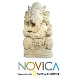 Sandstone 'Magnificent Ganesha II' Statuette, Handmade in Indonesia - Thumbnail 1