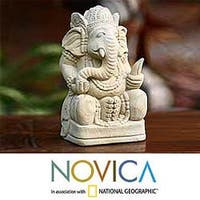 Sandstone 'Magnificent Ganesha II' Statuette, Handmade in Indonesia