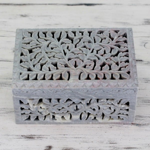 Honeysuckle Hand Carved Ornate Jali Openwork Natural Soapstone Off White Two Compartment Decorator Accent Jewelry Box (India)