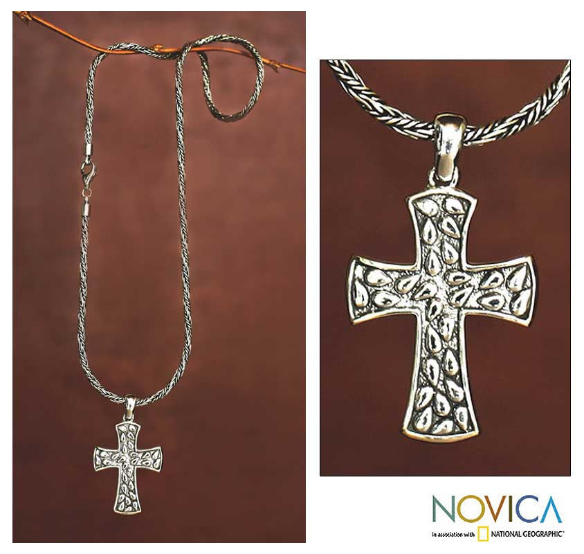 'Living Spirit' Sterling Silver Cross Necklace (INDONESIA)