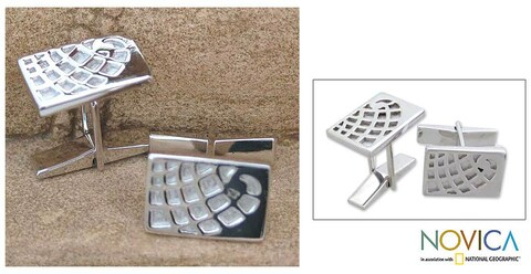 Handmade Sterling Silver 'Globetrotter' Cuff Links (India)