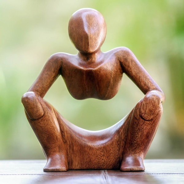 Abstract Sitting Contemplative Negative Space Seated Man Sleek Decorator Accent Brown Wood Modern Art Work Sculpture (Indonesia)