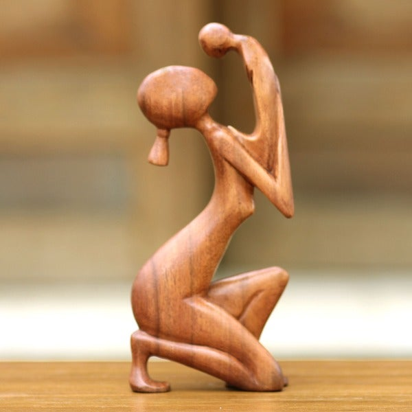 Wood 'Moment of Tenderness' Sculpture, Handmade in Indonesia