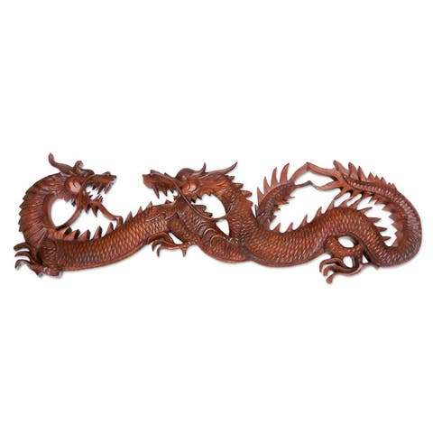 Suar Wood 'Dragon Game' Wall Adornment (Indonesia)