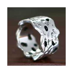 Handmade Sterling Silver 'Moon Craters' Men's Ring (Indonesia)