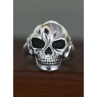 Handmade Sterling Silver Men's 'Lunar Skull' Ring (Indonesia)