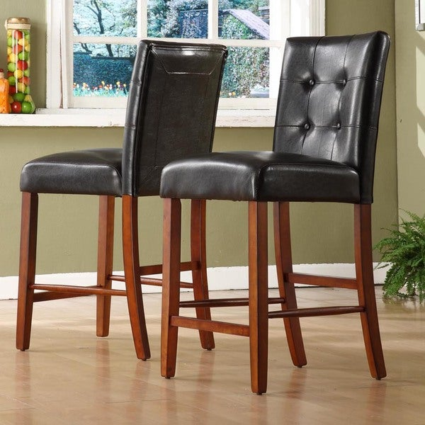 Hutton Faux Leather High Back Counter Height Stools by TRIBECCA HOME (Set of 2)
