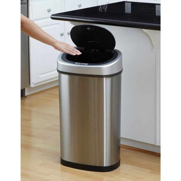 motion sensor stainless steel 2in1 combo bathroom kitchen trash can set free shipping today