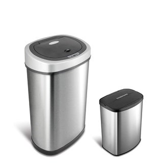 kitchen trash can with lid. Motion Sensor Stainless Steel 2-in-1 Combo Bathroom/ Kitchen Trash Can Set With Lid W