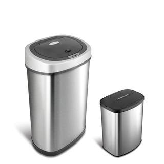 Motion Sensor Stainless Steel 2 In 1 Combo Bathroom Kitchen Trash Can Set