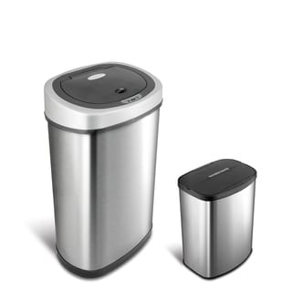 Motion Sensor Stainless Steel 2 In 1 Combo Bathroom/ Kitchen Trash Can Set