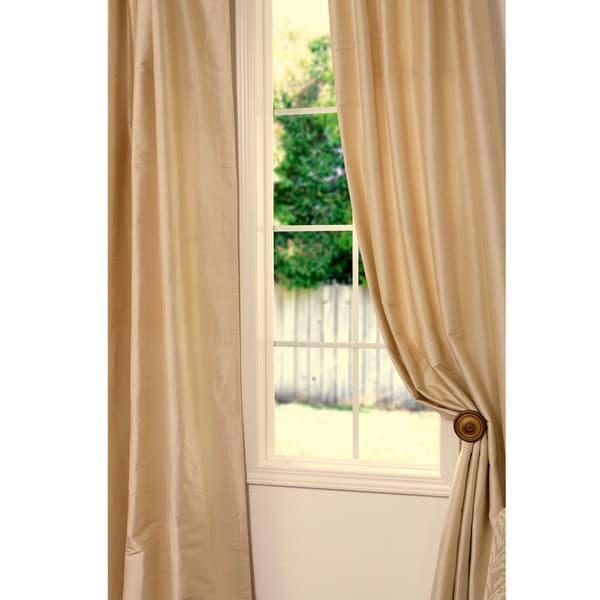 Exclusive Fabrics Signature Beige Cotton/ Silk 108-inch Curtain Panel