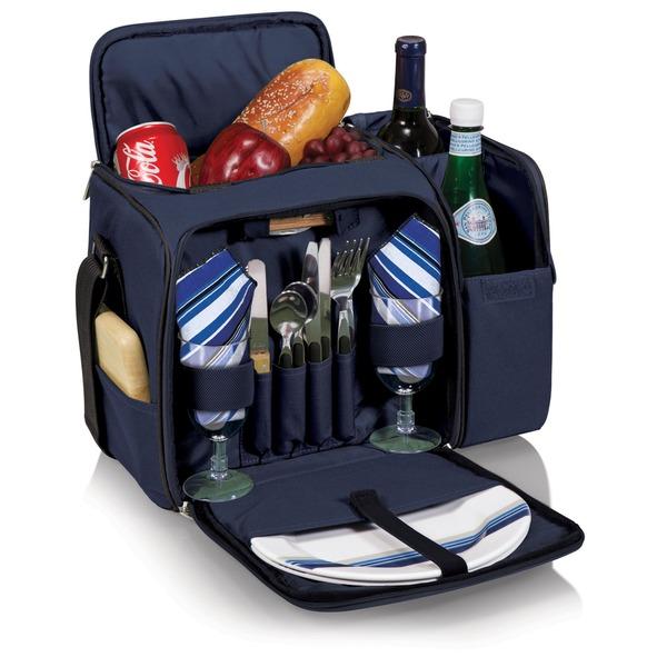 Picnic Time Malibu Navy Wine-n-Cheese Picnic Basket