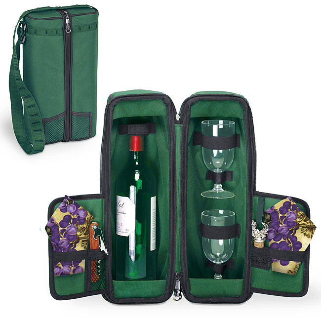Picnic Time Estate Pine Green/ Nouveau Grapes Deluxe Wine Tote - Thumbnail 0
