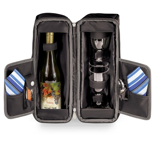 Picnic Time Estate Black/ Grey/ Blue Stripe Deluxe Wine Tote