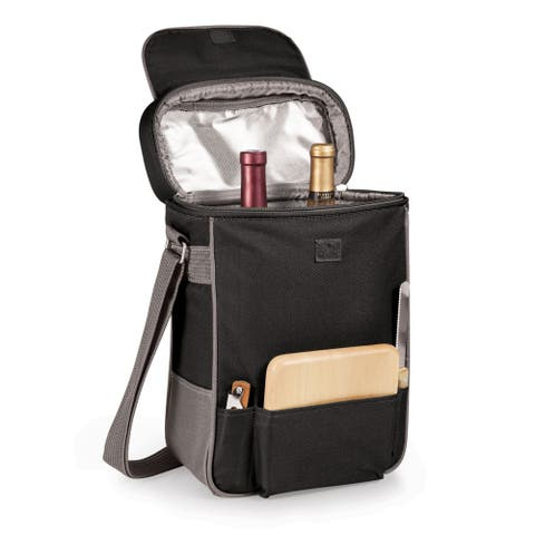 Picnic Time 'Duet' Black/ Grey Wine and Cheese Tote