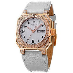 Zodiac Women's Icon Fashion Clear Crystal Leather-Strap Watch