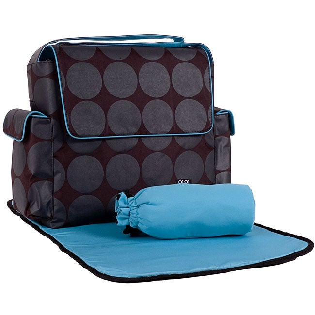 OiOi Dots Messenger Diaper Bag with Turquoise Lining