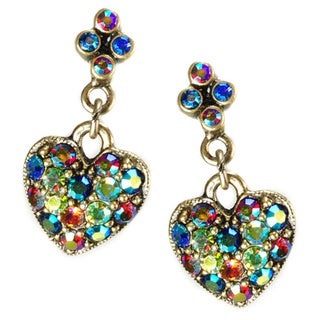 Sweet Romance Aurora Crystal Hearts Dangle Earrings