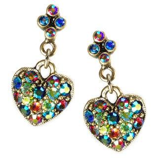 Sweet Romance Aurora Crystal Hearts Dangle Earrings