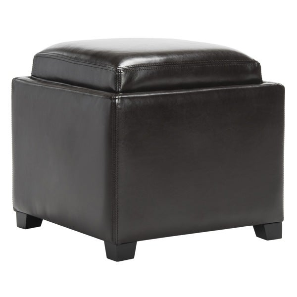 Safavieh Bobbi Tray Brown Bi-cast Leather Storage Ottoman