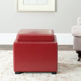 Safavieh Bobbi Tray Red Bicast Leather Storage Ottoman