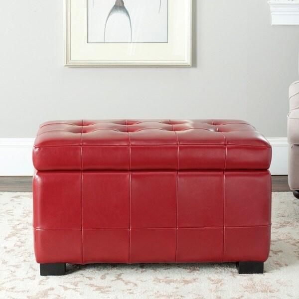 Safavieh Small Red Manhattan Storage Bench