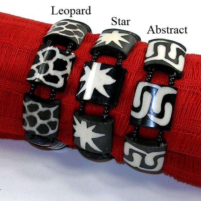 Polished Black Bone and Bead Bracelet (Kenya)