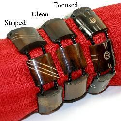 Polished Brown Bone-and-Bead  Stretch Bracelet (Kenya)