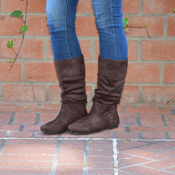 Slouch Mid-Calf Microsuede Boot