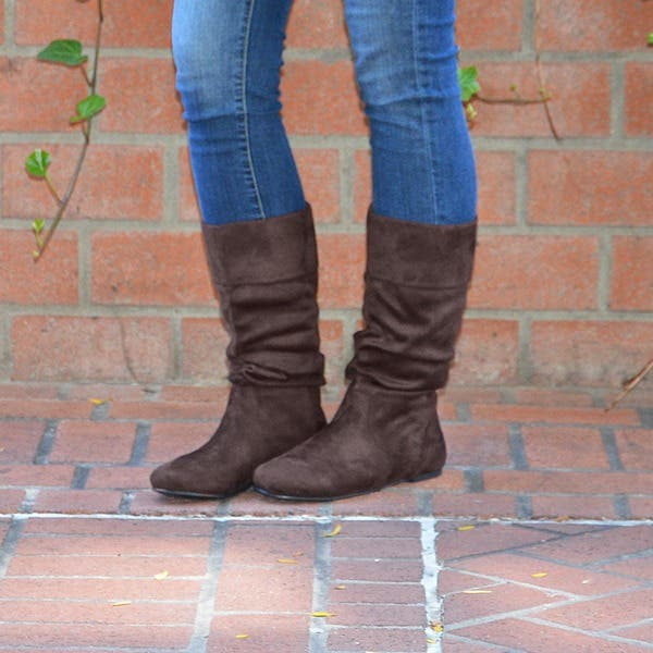 Journee Collection Women's 'Shelley-3' Slouch Mid-Calf Microsuede Boot -  Overstock - 4233538
