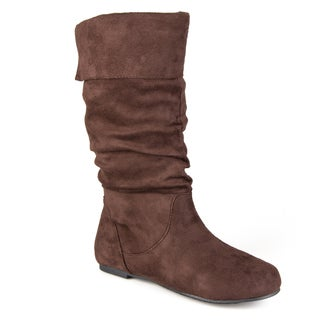 Journee Collection Women's Shelley-3 Microsuede Slouch Mid-calf Microsuede  Boots