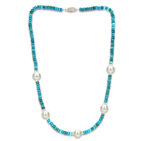 DaVonna 10-11mm Freshwater Pearl and Turquoise Necklace