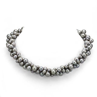 """DaVonna Sterling Silver 3-row Twisted 4-8mm Freshwater Pearl Necklace 18"""" (Option: Grey)"""