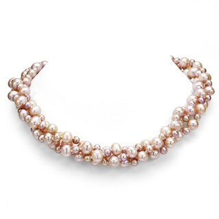 """DaVonna Sterling Silver 3-row Twisted 4-8mm Freshwater Pearl Necklace 18"""""""
